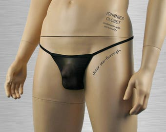 Mens See Through Mesh Pouch G string Black