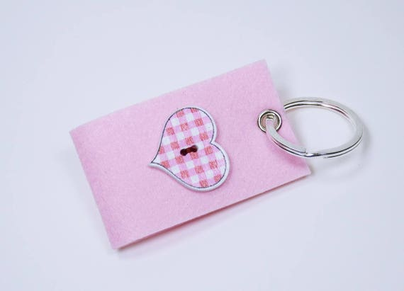 Key ring pink with knob in heart shape and diamonds in red pink white-keyring pendant for keychain heart Pendant