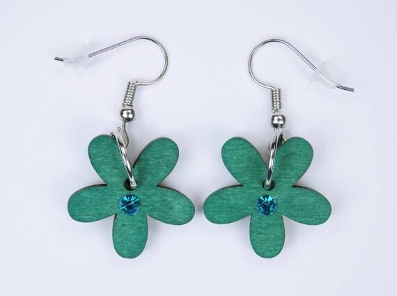 Earrings flowers in turquoise blue with turquoise rhinestone on silver-colored earrings pendant earrings Oktoberfest wood Flower