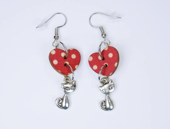 Earrings Cat and heart hearts in red with white dots on silver-colored earrings wooden pendant earrings Valentine Cats Cat