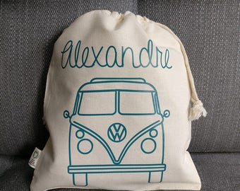 Child's bag - Pouch Van + name - toys, blanket for school or nursery