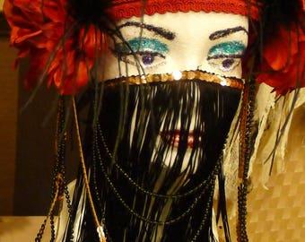 Belly Dance Mouth Mask, Gold Black Fringes, Beads, Oriental, Fusion , Arabic, Burlesque , Gypsy, Bohemian ., Mata Hari....