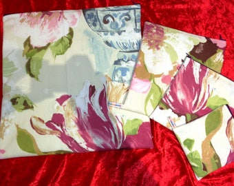 Country Garden Blooms Mega Set - 4 x  Poppins Waterproof Lined Zip Pouch - Beauty bag - Eco - Toiletries - Bikini Bag -Pouch - Make Up Bag