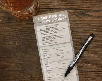 Whiskey Tasting Party Score Card Printable