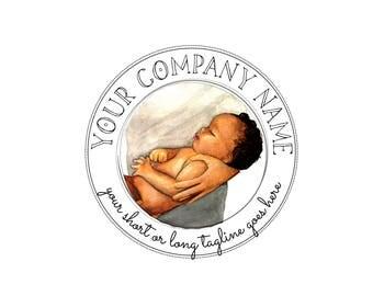 African American Baby Logo - Baby Logo  - Doula Logo - Boho Logo - Newborn Logo - Newborn Photography Logo - Baby Photography Logo