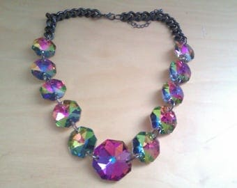 vintage rainbow glass bead necklace