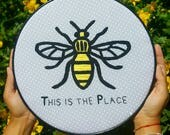 Embroidery HOOP art, Manchester Bee, Worker Bee, Manchester Poem, Forever Manchester, westandtogether, welovemcr, etsymcr, Hand embroidery,