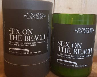 Sex on the Beach Candle - Vineyard Candle - Alcohol Themed - Recycled Wine Bottles - Handmade - Large