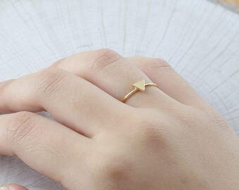 Mini Triangle Ring, Stacking Ring, Triangle Ring , Sterling Silver and Gold Fill Ring ( HCR TAR 5.6 )