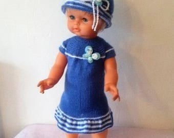 Clothes for dolls 50cms, dress and hat in wool