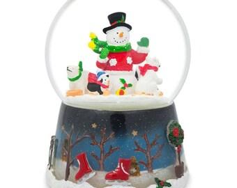 "5.5"" Snowman with Polar Bears and Penguins Animated Rotating Musical Globe"