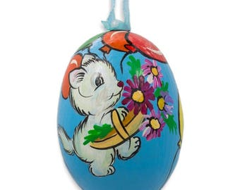 """3"""" Cat with Balloon and Flowers Wooden Christmas Ornament"""