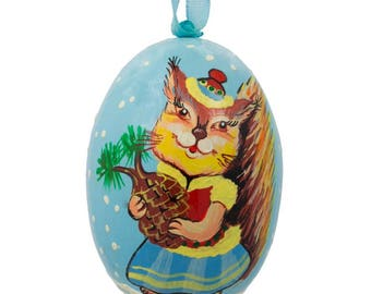 "3"" Squirrel Lady with Hat Animal Wooden Christmas Ornament"