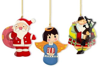 "5"" Scottish Bagpiper, Angel & Santa Claus Wooden Christmas Ornaments"
