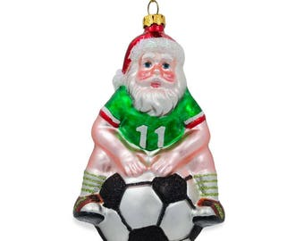 "5.25"" Santa on a Soccer Ball Blown Glass Christmas Ornament"