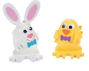 """2.5"""" Set of 12 Chick and Bunny Easter Eggs"""