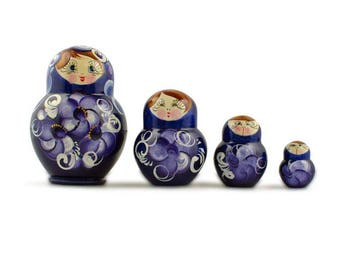 "3"" Set of 4 Blue Dress Mini Wooden Russian Nesting Dolls Matryoshka"