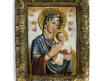 """12"""" Mary with Jesus Christ Hand Painted Icon"""