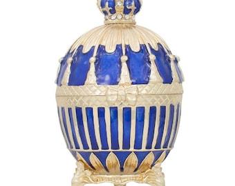 1885 Blue Enamel Ribbed Russian Faberge Egg