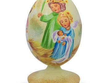 "3.5"" Guardian Angels Holding Baby Jesus Wooden Figurine"