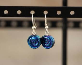 Dark Blue and Purple, Glass Rose, Dangle Earring