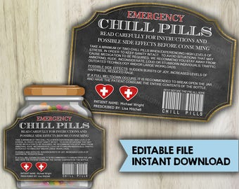 EDITABLE - INSTANT DOWNLOAD - Chill Pills Printable Label - Funny Christmas Gift For Boss CoWorker Office - PL15