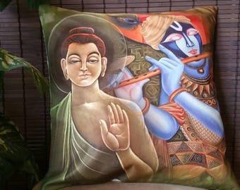 Buddha & Krishna digital print pillow couch pillow Boho pillow cover Boho cushion cover indian pillow cover meditation pillow Buddha pillow