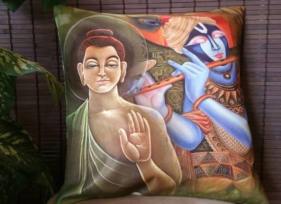 Buddha & Krishna digital print pillow|couch pillow|Boho pillow cover|Boho cushion cover|indian pillow cover|meditation pillow|Buddha pillow