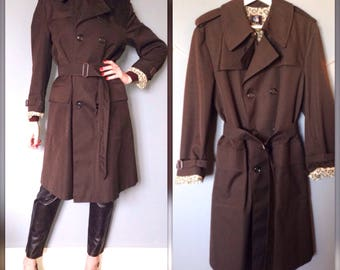 Vintage brown chocolate years 70 70 s trench raincoat coat jacket elegant timeless (M-38/40)