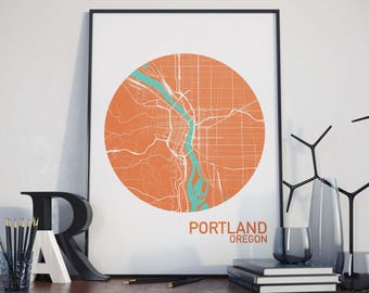 Portland, Oregon City Map Print