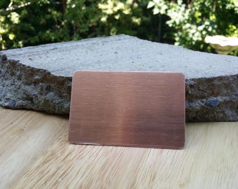 12 Pure Copper 2 1/8' x 3 3/8' Card Blanks 18 or 20 Gauge