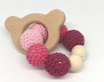 Pink bear wooden beads rattle