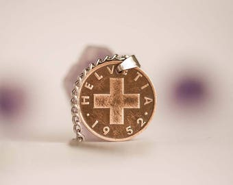 Switzerland Coin Necklace in Bronze colour. 1 Rappen, Swiss Coin, year 1952. Helvetia