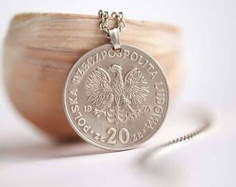 Poland Coin Necklace. 20 Złotych, 1974. Eagle
