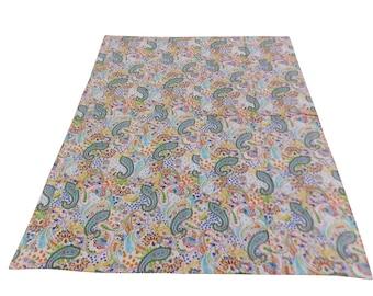 Paisley Design Indigo Handmade Kantha Throw Bedspread Reversible Vintage Quilt in Light Color