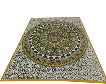 Hand Block Printed Mandala Design Cotton Double Bed Sheet in Yellow Color Size 90x108 Inch