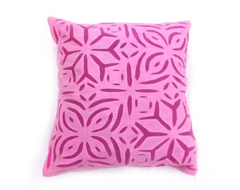 """Indian Pure Cotton Cushion Cover Home Cut Work Decorative Pink Color Size 17x17"""""""