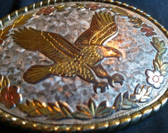 """Vintage Silver and Gold Flying Eagle ornate belt buckle marked """"W"""" Made in USA 4"""" very nice retro buckle"""