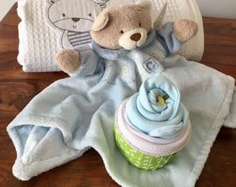 Teddy comforter and blanket gift set