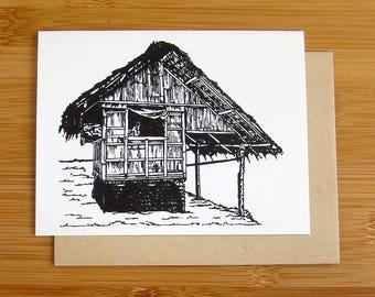 Bahay Kubo / Nipa Hut Card