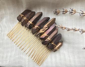 Raw crystal hair comb, Titanium quartz hair comb, Golden brown crystal comb, Fairy hair comb, Brown crystal hair piece, Rough crystal comb