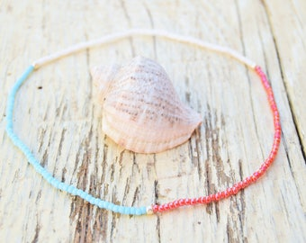 Very Dainty Anklet Beaded Bracelet Beaded Anklet Beach Anklet Dainty Bracelet Friendship Bracelet Seed Bead Bracelets Block Colors Bracelet
