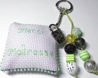 Keychain, bag embroidered gift teacher 40 hand charm