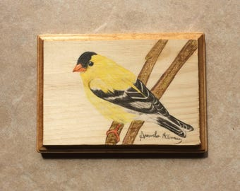 "Goldfinch 5x7"" Wooden Wall Plaque"