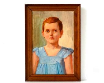 Vintage Portrait Painting - Girl in Blue Dress - Original Oil Painting - Mid Century Portrait - Vintage Girl Painting