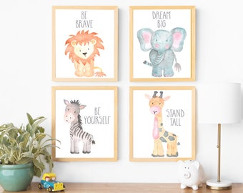 Safari Nursery Art Animal Paintings Baby Animal Prints Animal Watercolor Childrens Wall Art Decor Kids Room Elephant Giraffe Zebra Lion Art