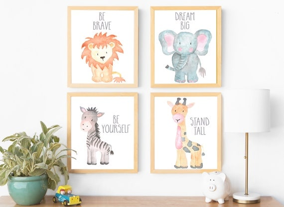 Safari nursery art animal paintings baby animal prints animal for Baby room jungle mural