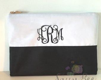 Monogram Bag, Black and White Color block Makeup Bag, Monogrammed Cosmetic Bag, Makeup Bag, Cosmetic Bag, Gift Idea