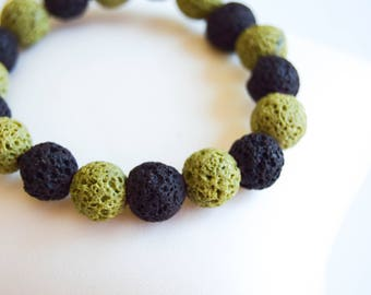 lava bead bracelet, lava stone jewellery, green and brown lava bracelet, summer jewellery, natural stone bracelet, lava bead bracelet