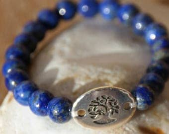 Bracelet lapis lazuli with tree of life connector